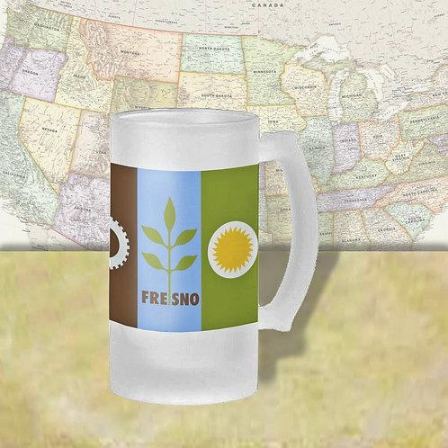 Fresno, CA City Flag Beer Mug