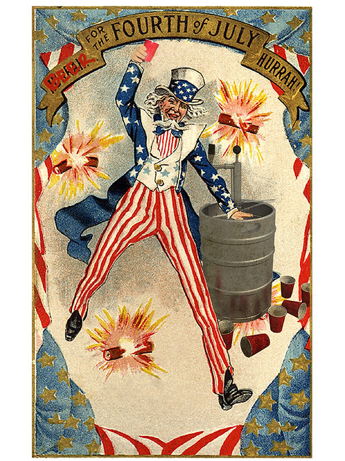 """Fine"" Art Tee - Uncle Sam with Beer"