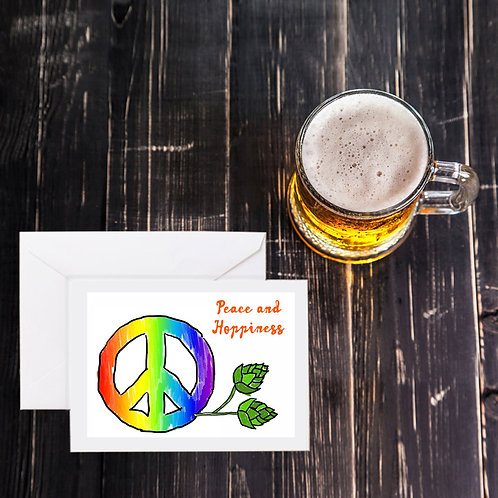 Beer Greeting Card - Peace and Hoppiness
