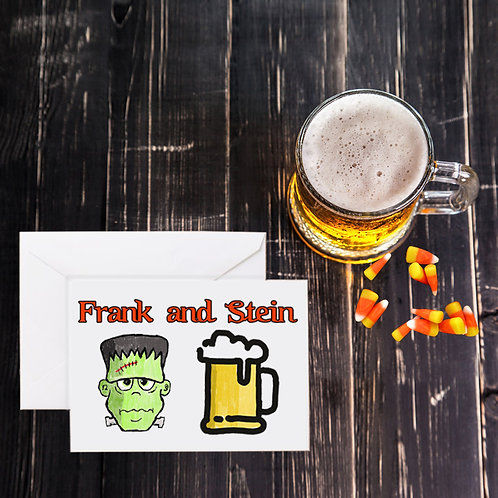 Halloween Beer Greeting Card - Frank and Stein