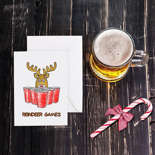 Christmas Beer Greeting Card - Reindeer Games