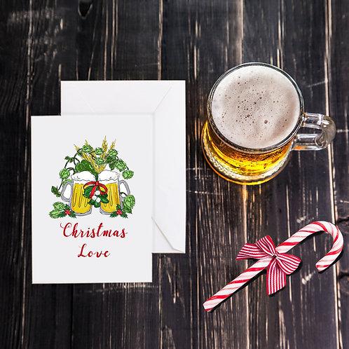 Christmas Beer Greeting Card - Christmas Love