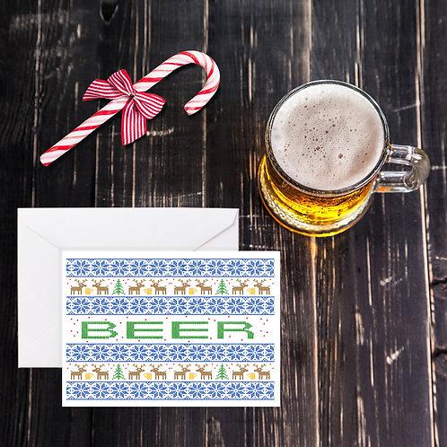 Christmas Beer Greeting Card - Ugly Xmas Sweater