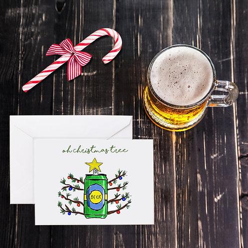 Christmas Beer Greeting Card - O Christmas Tree