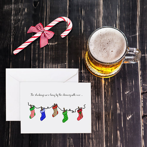 Christmas Beer Greeting Card - The Stockings Were Hung