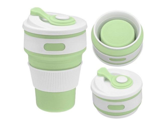 Copo Dobrável Reutilizável Grande Silicone c/ Tampa 350 ml