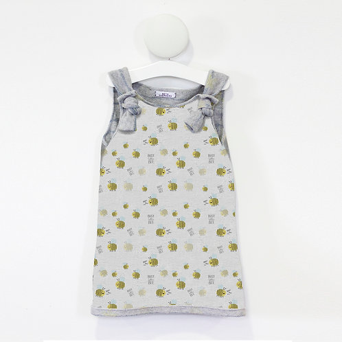 Bee print knot tie dress