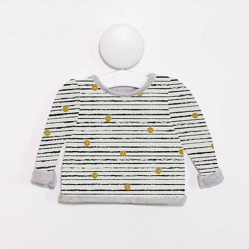 Stripe & small mustard dot