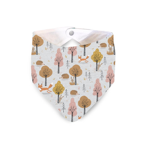 Grey woodland animal bib
