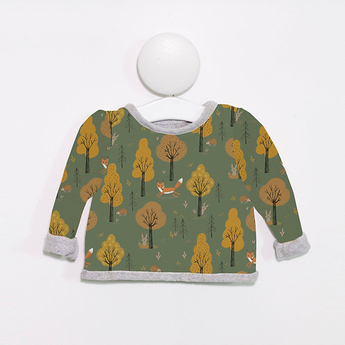 Green woodland animal print