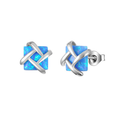 Sterling silver square created opal square studs