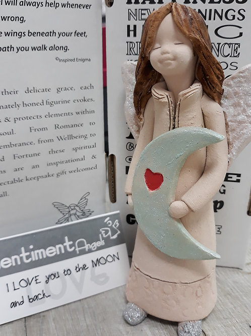 """Angel """"Love you to the Moon and back"""" with mint green moon"""