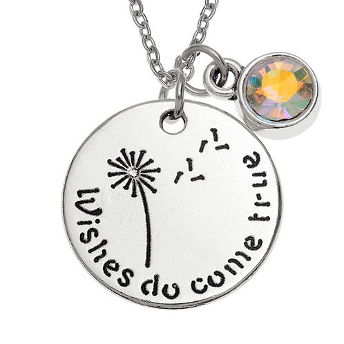 Dandelion sentiment pendant with glass charm