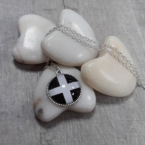 Cornish Flag necklace, fancy setting