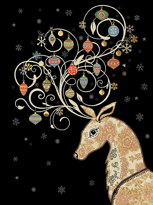 Reindeer with baubles card
