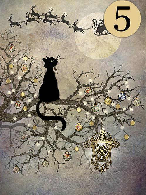Black cat and moon cards, 5 pack