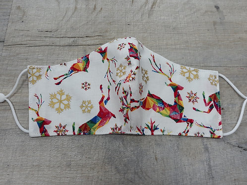 Teenager/ladies face mask with rainbow reindeer fabric