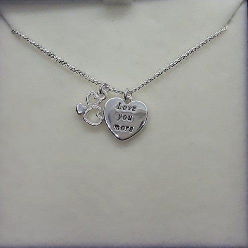 Necklace with hearts , Love you more.