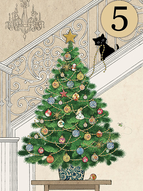 Kitten with tree cards, 5 pack