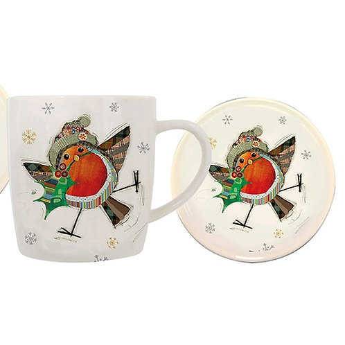 Christmas robin mug and coaster set from Bug Art