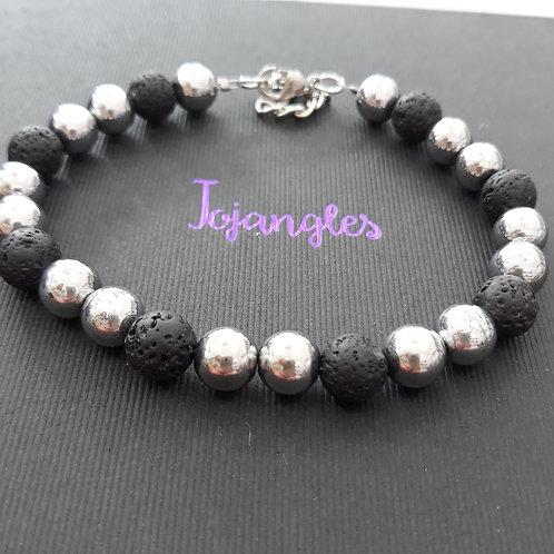 Man's bracelet with lava beads