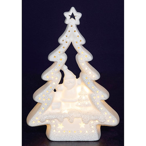Christmas glow porcelain tree scene with snowman