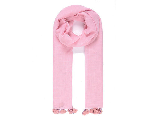 Pink scarf with tassles