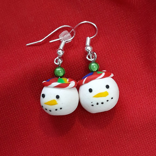 Christmas snowmen drops with green bead