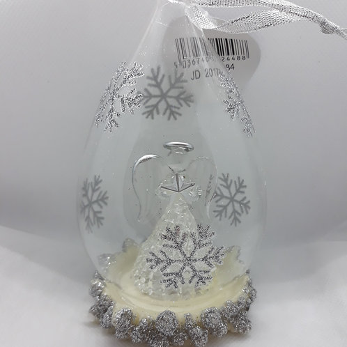 Glass teardrop decoration with angel