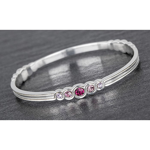 Swirls bangle with lilac stones