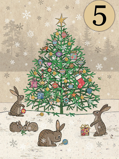 Christmas tree with rabbits cards, 5 pack