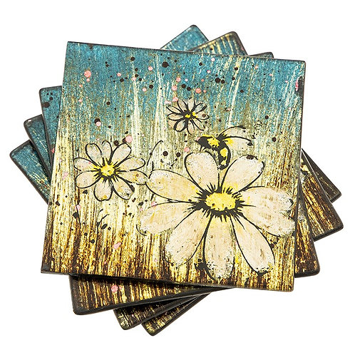 Honey bee coasters, set of 4