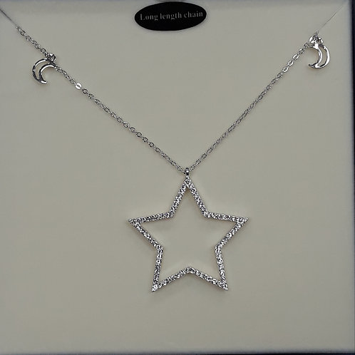 Long length necklace with sparkly star