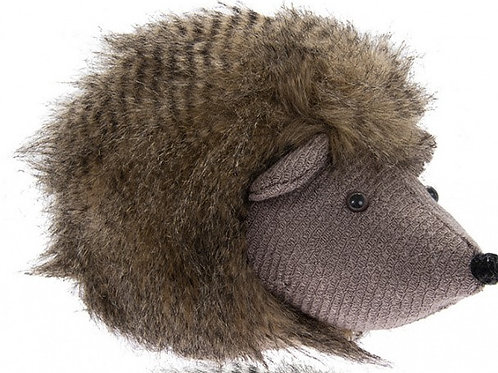 Fluffy brown hedgehog doorstop