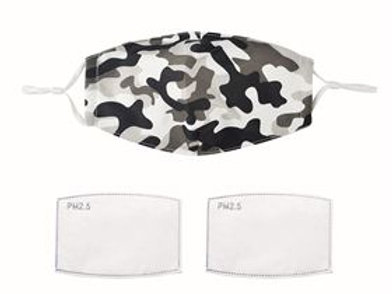 Monochrome camouflage pattern face mask with filters