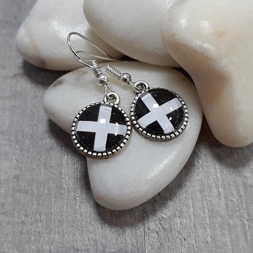St Piran Cornish flag earrings