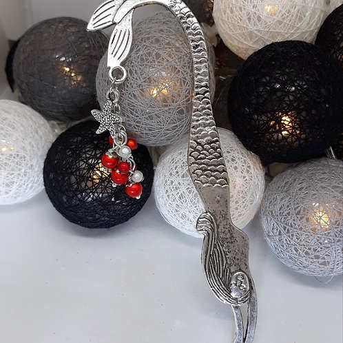Mermaid bookmark with red beads