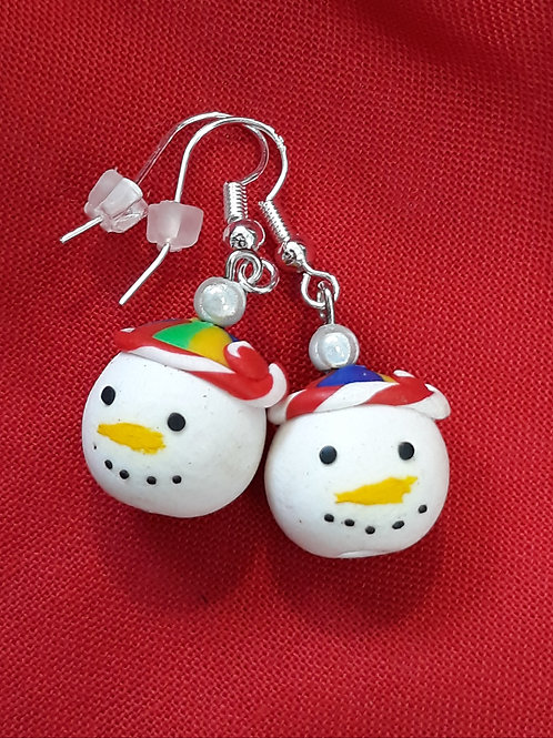 Christmas snowmen drops with silver miracle bead