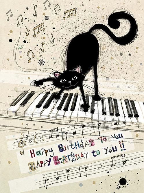 Cat on Piano birthday card