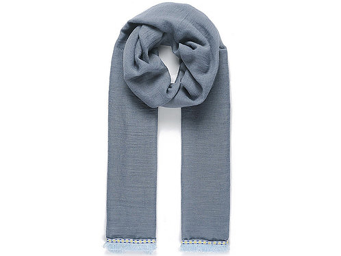 Jean blue scarf with fringe