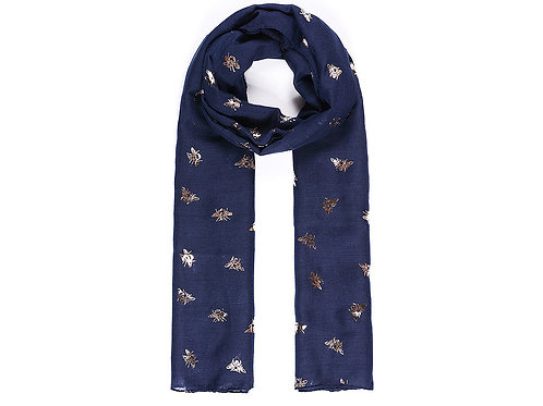 Navy scarf with bees