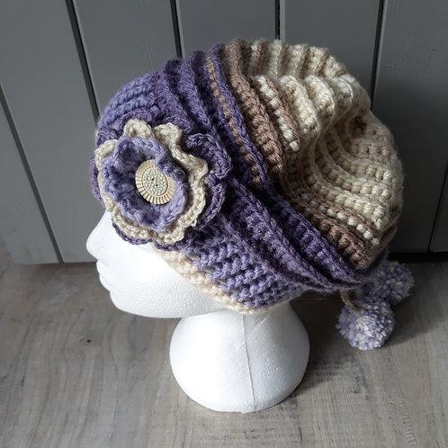 Purple and cream crochet slouch hat, detachable flower