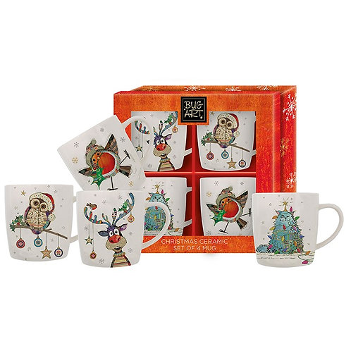 Set of 4 Christmas mugs from Bug Art