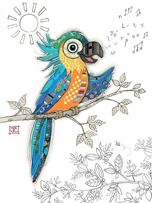 Percy Parrot card by Bug Art