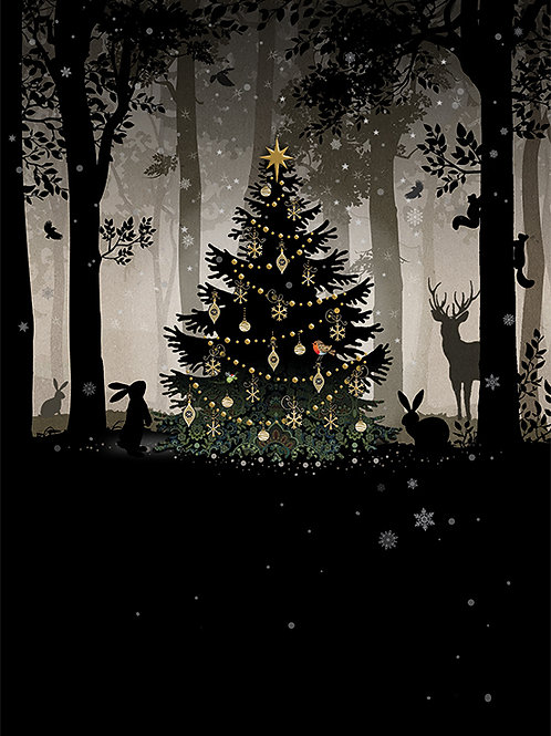 Christmas woodland gathering card