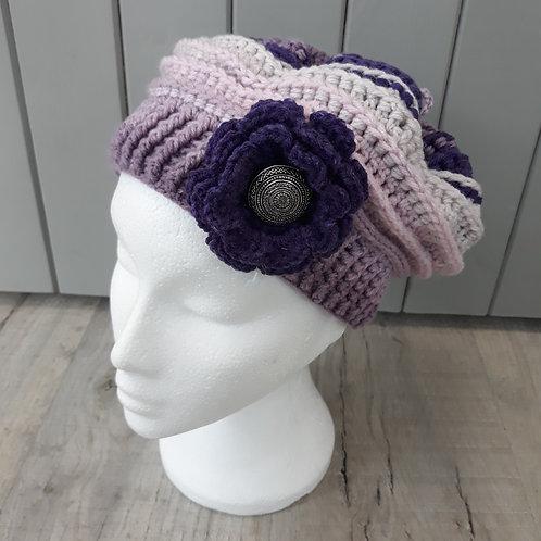 Hand crochet purple slouch hat