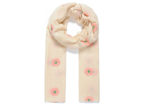 Beige blossom embroidered scarf