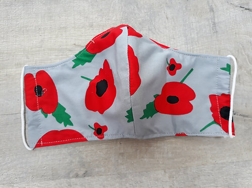 Teenager/ladies face mask with poppy fabric