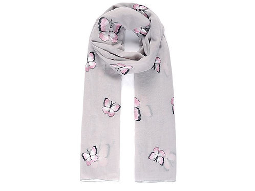 Grey butterfly embroidered scarf