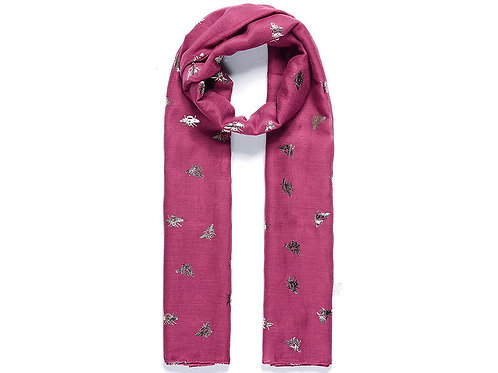 Plum scarf with bees